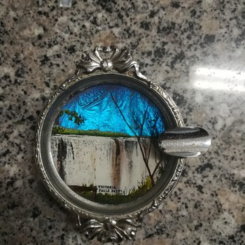 Silver plated butterfly wing ashtray depicting victoria falls - Tobacciana
