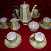 My lovely Bohemian lustreware coffee set.