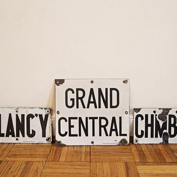 1930s/1940s Porcelain New York Subway Signs: Grand Central, Delancey, Chambers