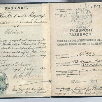 1931 British passport - Theran - Paper