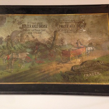 "Awesome ""Frazer Axle Grease"" Self-Framed Tin General Store Advertising Sign Circa 1900 - Advertising"