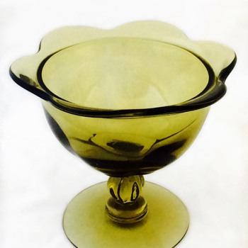 Avacado Green Glass Compote Unknown Mark Vintage Antique
