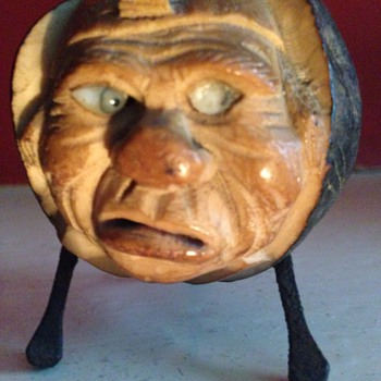 Beautiful ugly face carved from a coquilla nut, old match striker.  - Folk Art