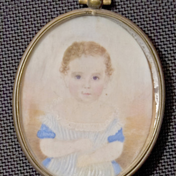 """Young Girl Photo in oval frame 2 1/2"""" by 2"""" - Photographs"""