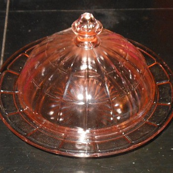 Pink Depression Glass Butter Dish Colonial Block