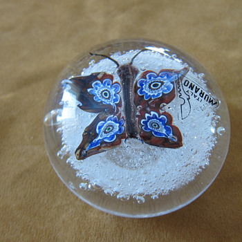 Murano Art Glass Paperweights with Butterfly Design