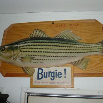 Burgie  North American Sportfish cardboard signs - Breweriana