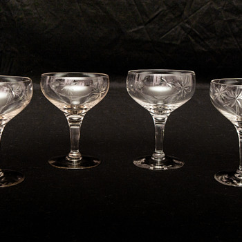 Gorgeous Cut Crystal Coupe Champagne Stemware