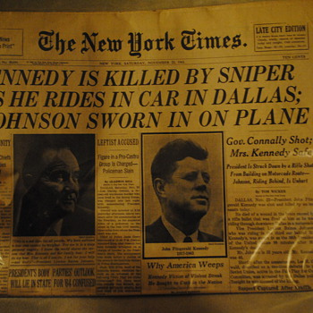 Nov 23, 1963 Kennedy Assassination NYT Newspaper - Paper