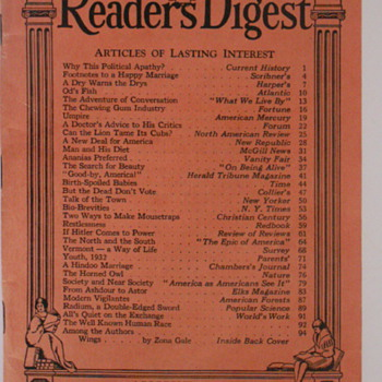 Readers Digest August 1932 - Paper