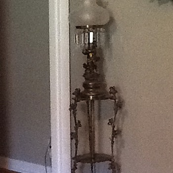 Antique Brass Cherub Floor Lamp
