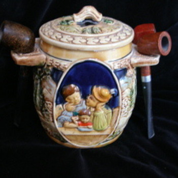 Ceramic tobacco jar and pipe holder - Tobacciana