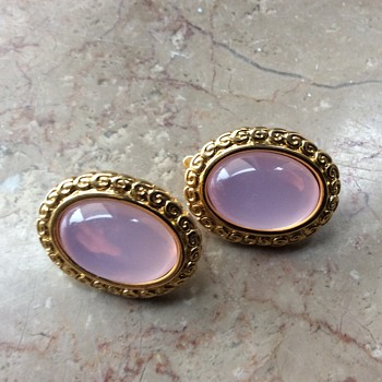 Trifari pink moonglow lucite earclips
