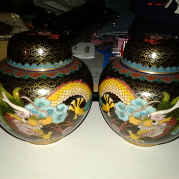 Matching opposite  pair of Closionne Dragon Jars  - Asian