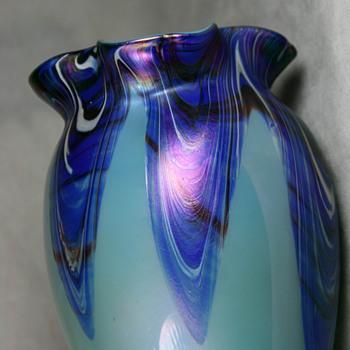 Rindskopf Light Blue Vase with Cobalt Feathers