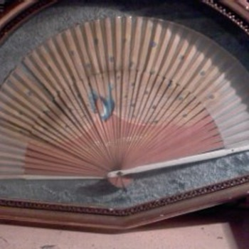 BAMBOO HAND HELD PEACOCK FAN - Victorian Era