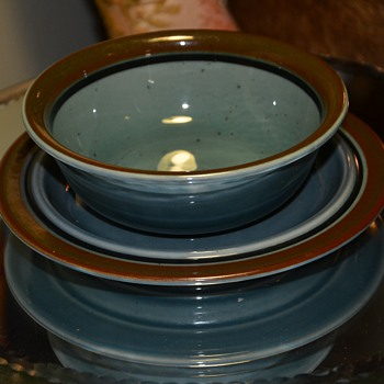 Arabia of Finland Meri Blue Soup Bowl and Saucer - Kitchen
