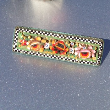 Vintage mosaic Italian ceramic brooch