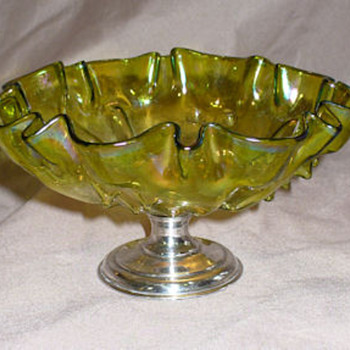 Steuben Compote Hawkes sterling base. Iridescent. - Art Glass