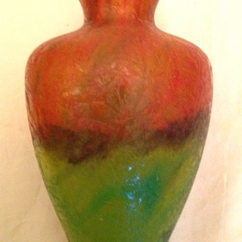 Czech : Chipped Ice / Glue Chip Red and Green Vase - Art Glass