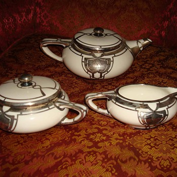 Lenox Art Deco Tea Set with Mausser Sterling Silver Overlay - China and Dinnerware