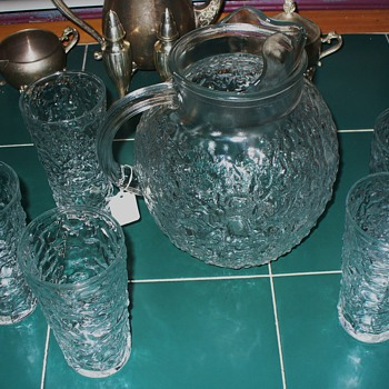 Clear Anchor Hocking Milano Lido Pitcher and Tumblers - Glassware