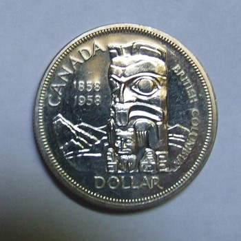"1958 British Columbia Centennial ""Totem Pole"" Dollar - World Coins"