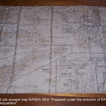 WW2 Silk Escape Map of Banda Sea- Prepared Under the Direction of R.A.A.F. Headquarters - Military and Wartime