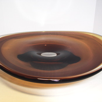 Huge Glass Amber Plate or Bowl,c 20 Century