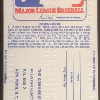 All Star Ballot 1973 - Baseball