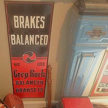1930s Grey Rock Brake tin sign - Petroliana