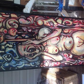 strange picture on wood  - Visual Art