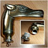 brass horse walking stick with whiskey flask