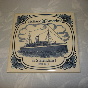 Holland America SS Statendam 1898-1911 Tile - Art Pottery