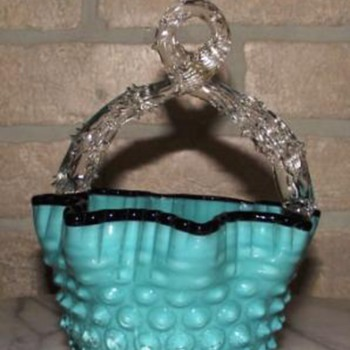 Czech Thorn Handle Hobnail Basket - Art Glass