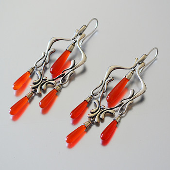 Georg Jensen Moonlight Blossom earrings with Orange Chalcedony - Fine Jewelry