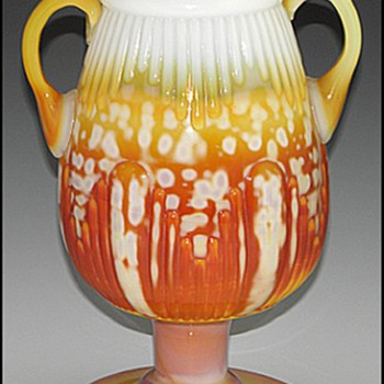 Pittsburgh Glass Ribbed Vase with Handles, ca. 1885