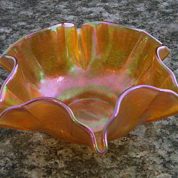 Loetz iridescent Gold Aurene Sauce - Art Glass
