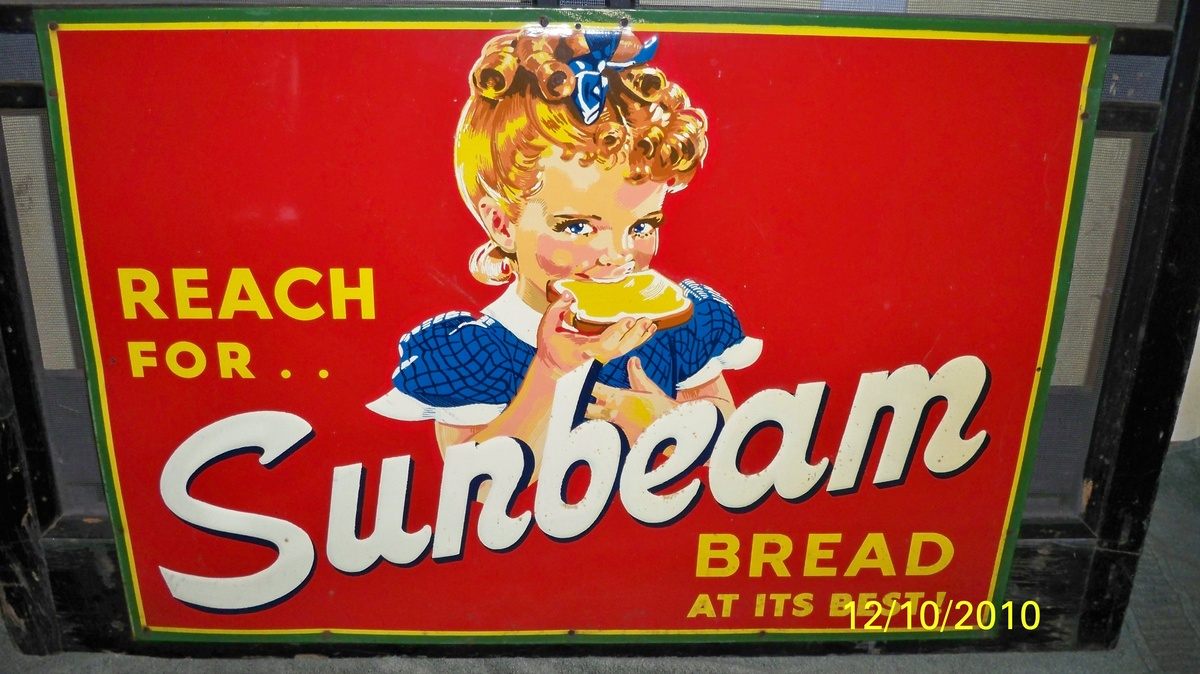 antique rare sunbeam bread screen door very neat