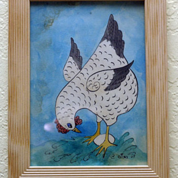 Original pen and ink Folk painting.  Hen and Egg - Folk Art