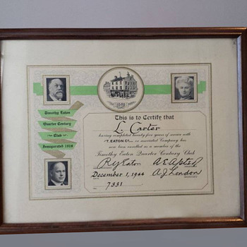 T. Eaton Co Limited,  Quarter Century Club Certificate - Advertising