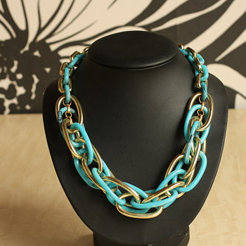 Blue and gold plastic necklace