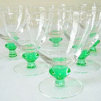 Uranium Glass Stems, Maker, Age? - Glassware