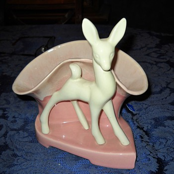 UNMARKED PINK & WHITE DEER PLANTER - Art Pottery