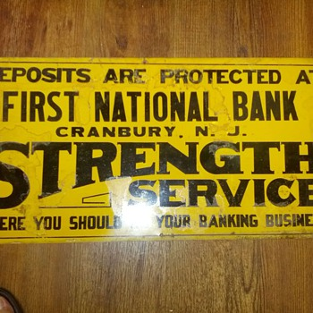 First National Bank Cranbury, NJ Tin Sign - Signs