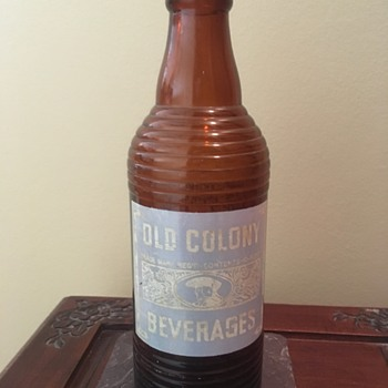 Old Colony Beverages Brown Ribbed Bottle (12oz ?) - Bottles