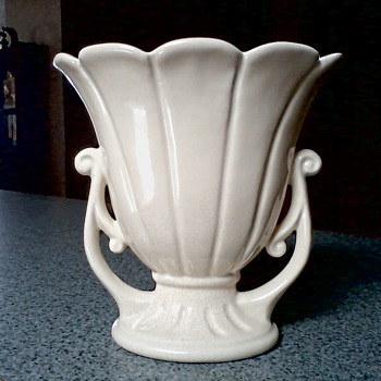 Beautiful Matte Ivory Flower Form Vase with Scroll Handles / Marked USA #206-7? /Circa 1940's 50's