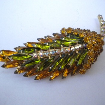 Large Rhinestone Leaf Brooch
