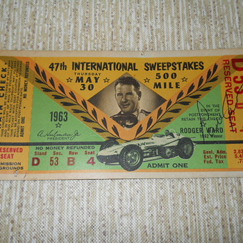 1963 Indy 500 stub - Outdoor Sports