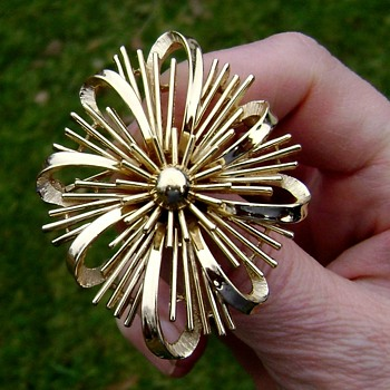 Crown Trifari Brooch - Atomic Sunburst - Costume Jewelry